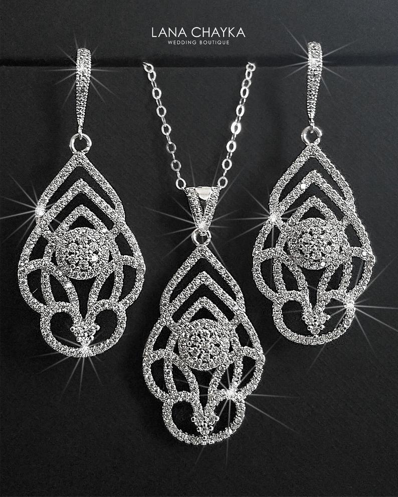 Mariage - Silver Bridal Jewelry Set, Wedding Earrings&Necklace Jewelry Set, Silver Cluster Jewelry Set, Wedding Jewelry, Bridal Jewelry, Bridesmaids