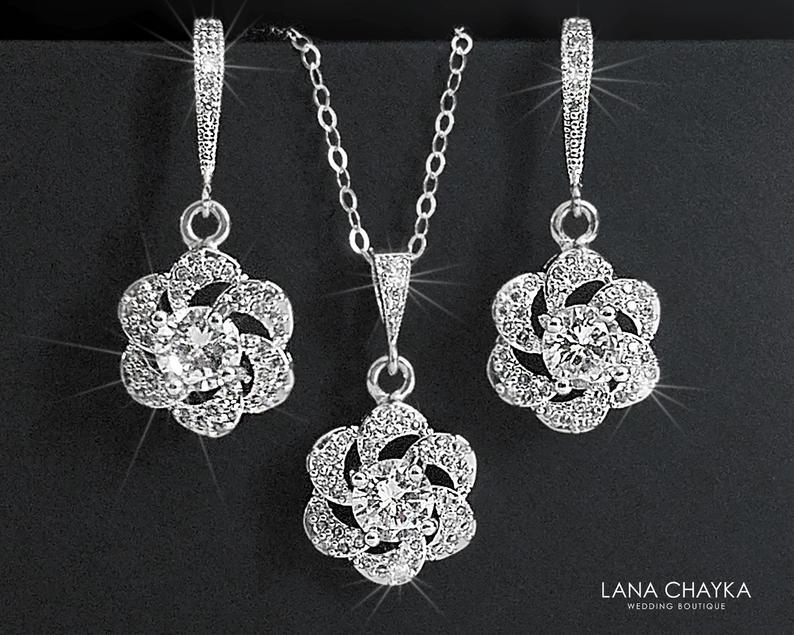 Wedding - Cubic Zirconia Bridal Jewelry Set, Earrings&Necklace Crystal Set, Camellia Wedding Jewelry Set, Floral Crystal Set, Bridal Jewelry, Prom Set
