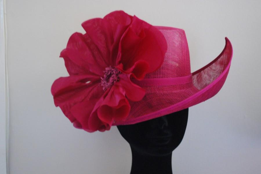 Свадьба - Magenta irregular shaped feature hat with silk poppy-- Style name Poppy Made to Order