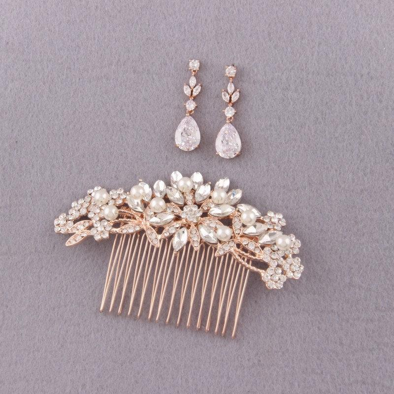 Свадьба - bridal jewelry bridal hair piece rose gold crystal hair comb floral bridal earrings wedding gift bridal shower gift rhinestone hair comb