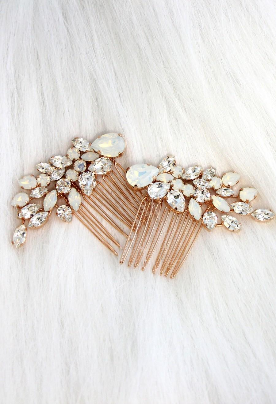 Mariage - Bridal Hair Comb, Swarovski Opal Hair Comb, Rhinestone Hair Comb, Bridal Hair Accessories, Rose Gold Hair Comb, Bridal White Opal Hair Comb
