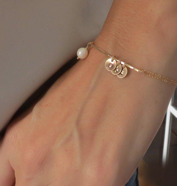 Wedding - Personalized Bracelet Mother Daughter Gift for Mom Personalized Gift Gold Bracelet Initials Bracelet Wedding Bridal Shower Jewelry