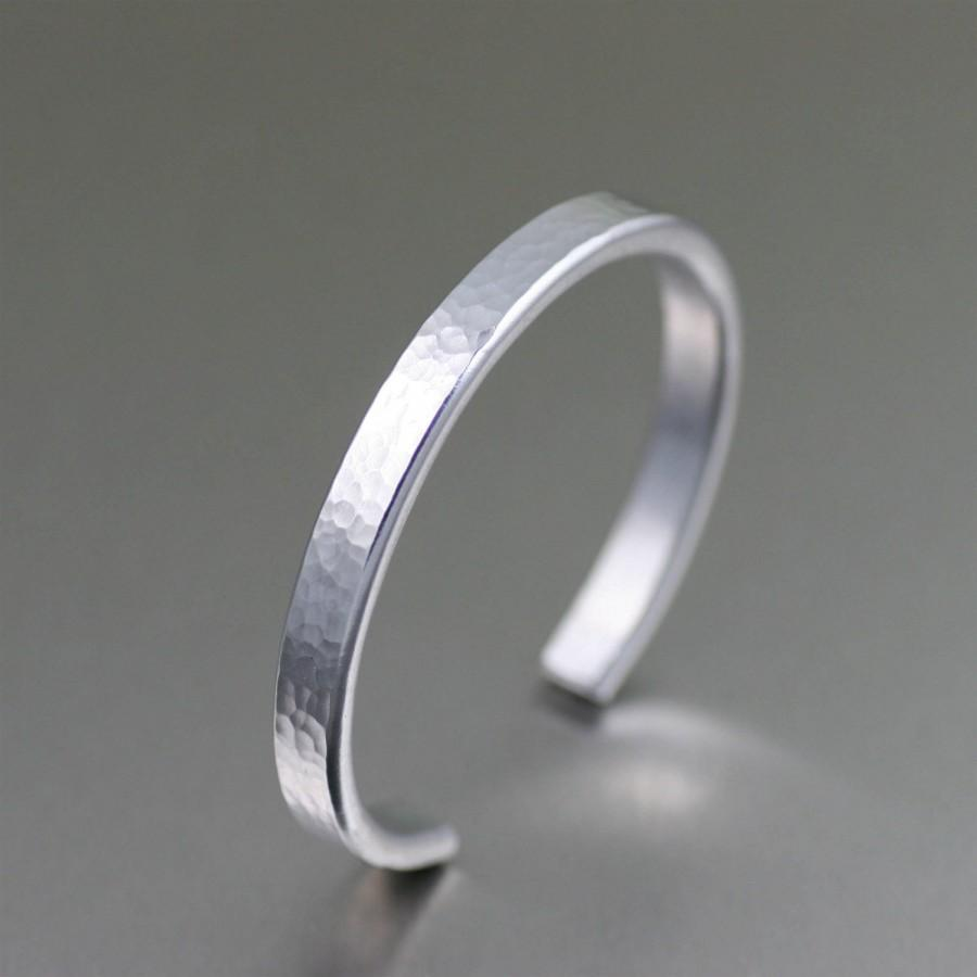 Wedding - Thin Hammered Aluminum Cuff - Silver Stackable Mix and Match Cuffs - Handmade Silver Toned Jewelry for Women and Men - 10th Anniversary