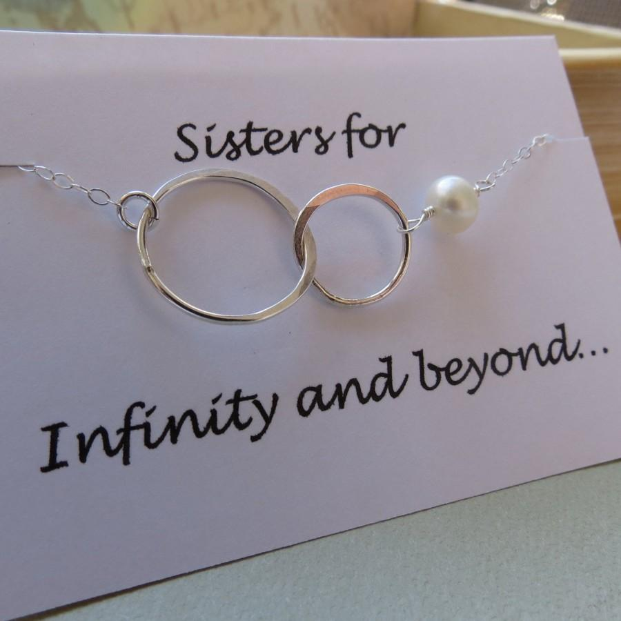 Mariage - Sister Necklace, Interlocking Circle Necklace, Friendship Necklace, Sterling Silver Necklace, BFF Necklace, Bridesmaid Necklace