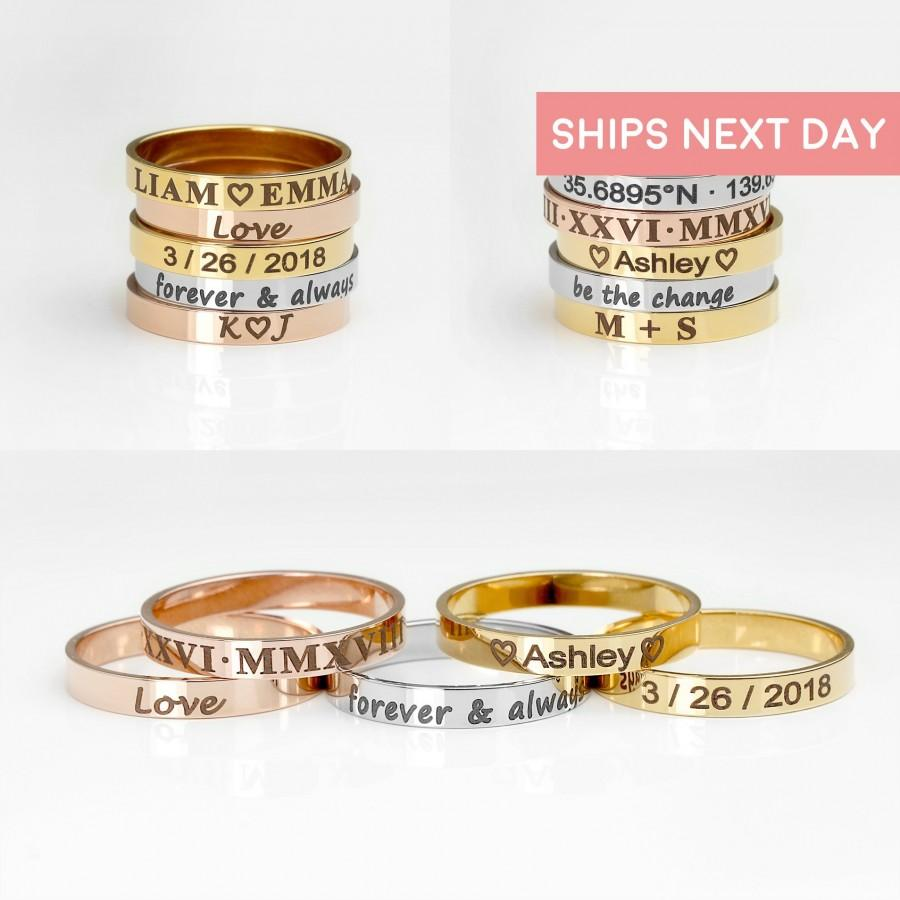 Wedding - Personalized Ring For Women Gold Engraved Ring Custom Ring Gift for Mom Monogram Mothers Day Gift Ideas Mama Ring Popular Jewelry - R4