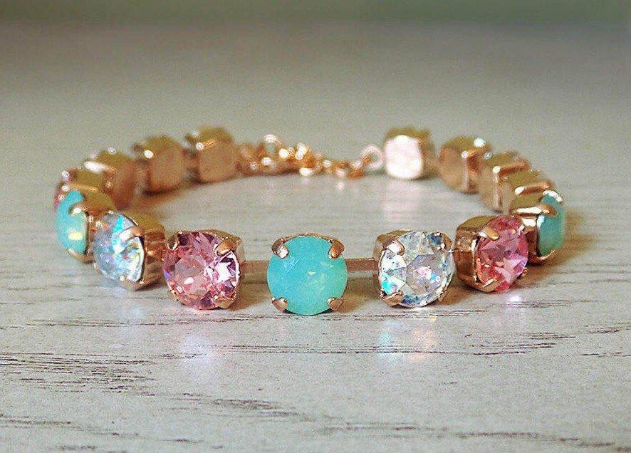 Wedding - Pink Mint and Crystal Rose Gold Tennis Bracelet, Pink Mint Bracelet, Swarovski Crystal Bracelet, Cupchain Bracelet, Beachy Bracelet