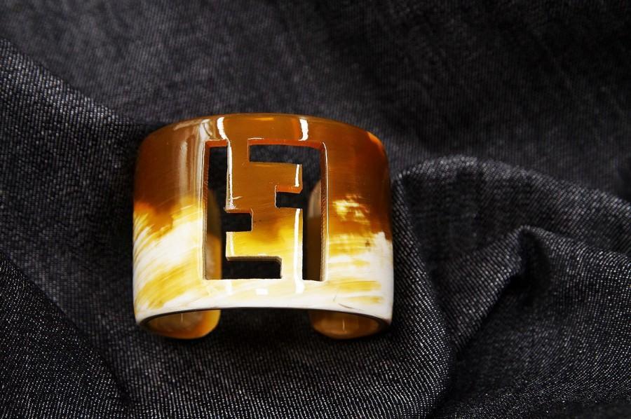 Mariage - Inspired  Fendi style Bracelet Horn Bracelet Cuff Bracelet en corne Braccialett Armband Handmade Bracelet DP/1201