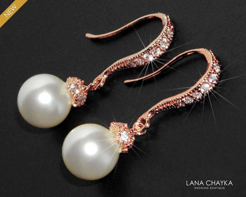 Mariage - White Pearl Rose Gold Bridal Earrings Swarovski 8mm Pearl CZ Earrings Bridal Pearl Drop Earrings Wedding Rose Gold Small Earrings Bridesmaid
