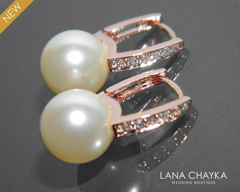 Mariage - Pearl Rose Gold Bridal Earrings Pearl CZ Leverback Wedding Earrings Swarovski 10mm Ivory Pearl Drop Earrings Bridal Pearl Rose Gold Earring