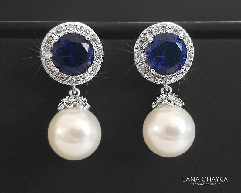 Mariage - Pearl Bridal Earrings, White Navy Blue Wedding Earrings, Swarovski 10mm Pearl Drop Earrings, Pearl Bridal Jewelry, Pearl Navy Blue CZ Studs