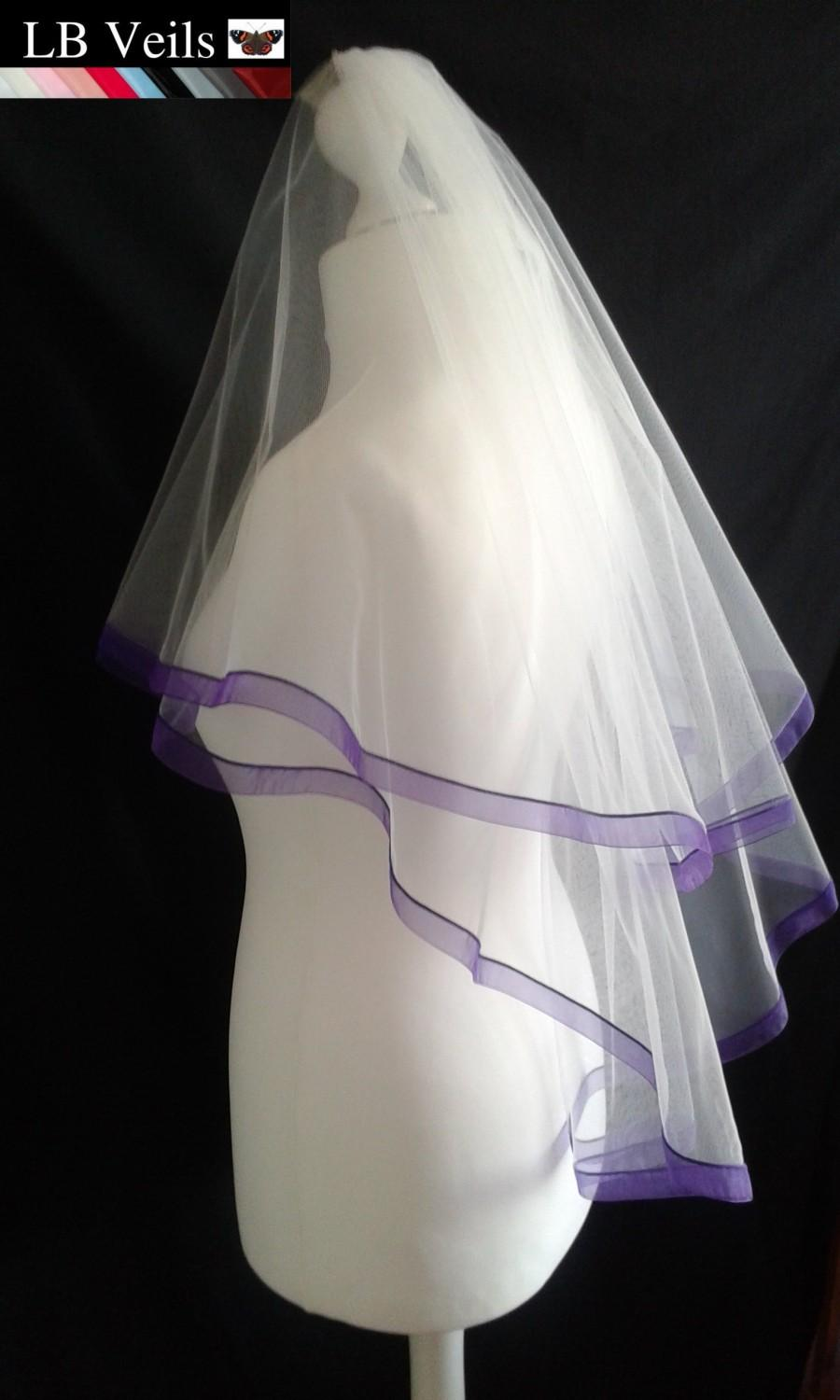 Hochzeit - Purple, Ribbon, Edge, Veil, 2 Tier, Any, Colour, Wedding, Organza, Waist, Length, Elbow, Fingertip, Short, Bridal, Floor, LB Veils LBV184 UK
