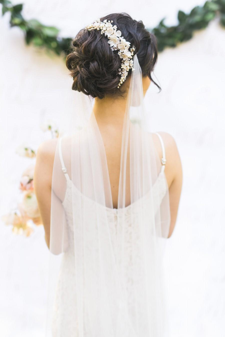 Wedding - Wedding Veil, Bridal Veil, Draped Veil, Draped Wedding Veil, Draped Bridal Veil, Long Veil, Ivory Veil, Ivory Draped Veil, White Draped Veil