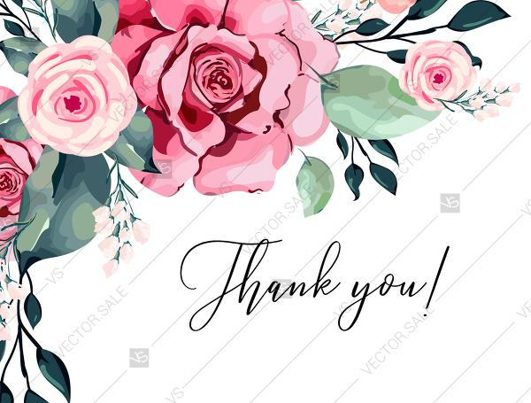 Mariage - Thank you card watercolor rose floral greenery 5.6x4.25 in PDF custom online editor custom invitation
