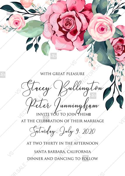 Wedding Invitation Watercolor Rose Floral Greenery PDF 5 X 7 In