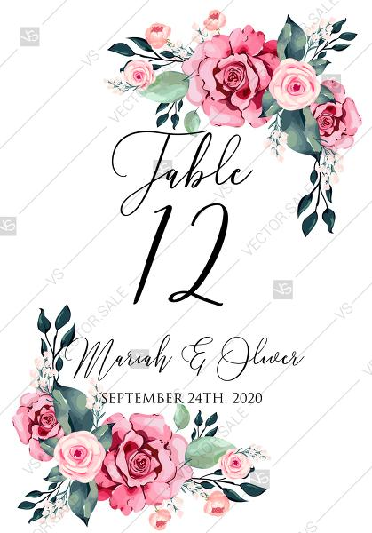 Mariage - Table card watercolor rose floral greenery 3.5x5 in PDF custom online editor baby shower invitation
