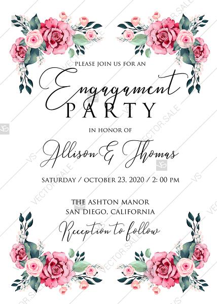 Mariage - Engagement invitation watercolor rose floral greenery 5 x 7 in PDF custom online editor thank you card