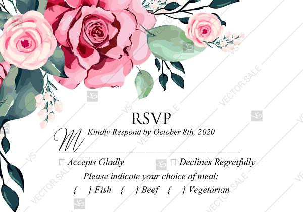 Wedding - RSVP watercolor rose floral greenery PDF 5x3.5 in custom online editor floral greeting card