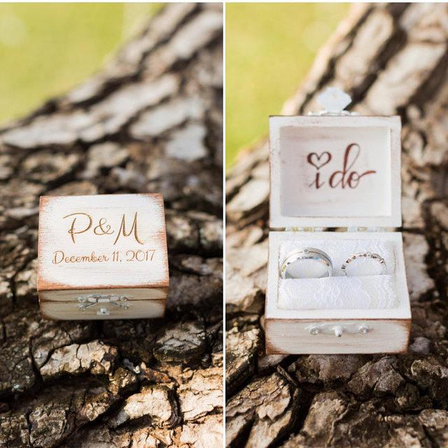 Mariage - Rustic I DO ring bearer box, personalized ring box, personalized I do ring box, rustic wedding ring box, distressed I do ring box