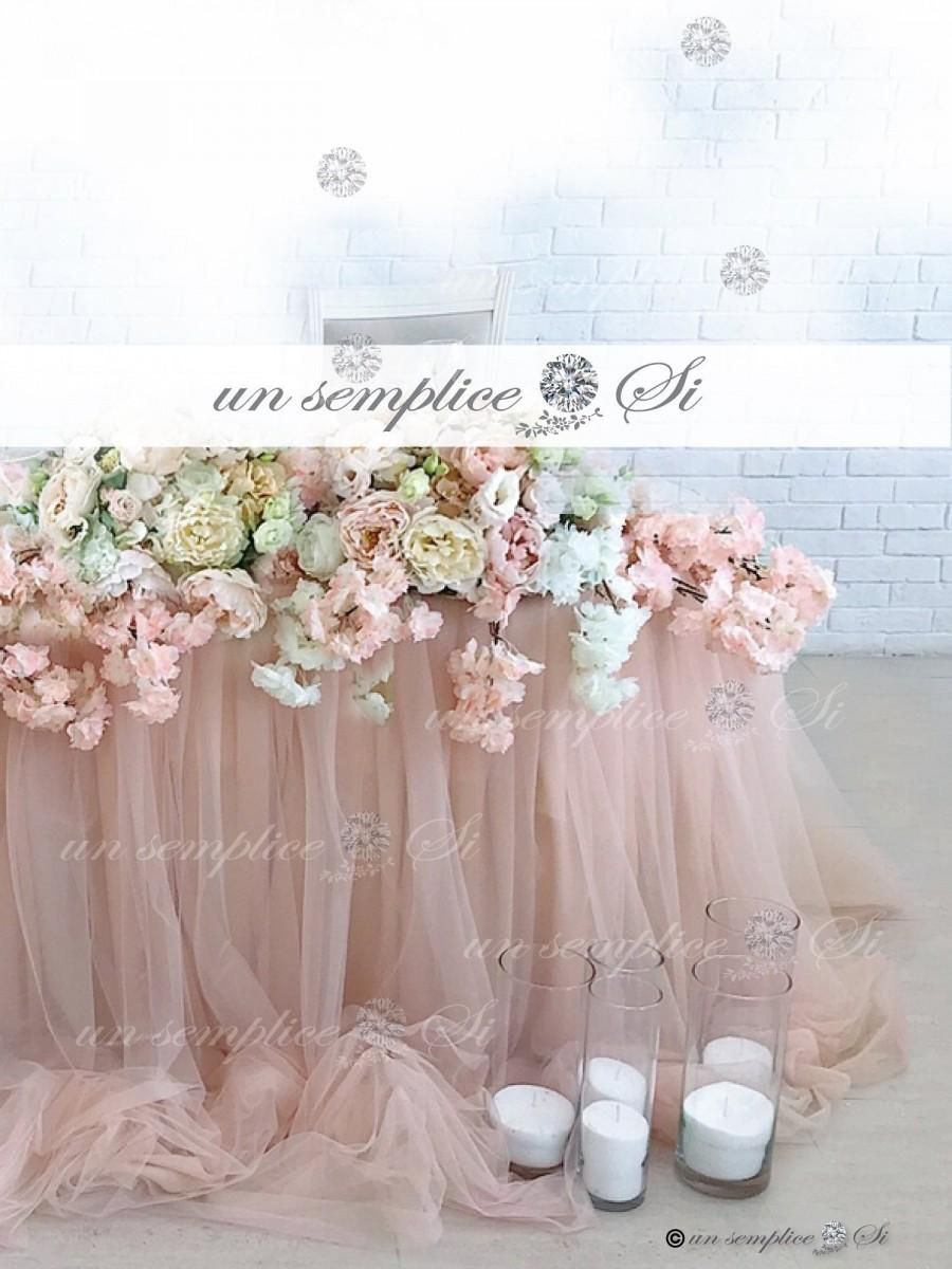 "Mariage - Tulle Chiffon Table Skirt  / 57"" Length / Extra  Long  Tulle Table Skirt"