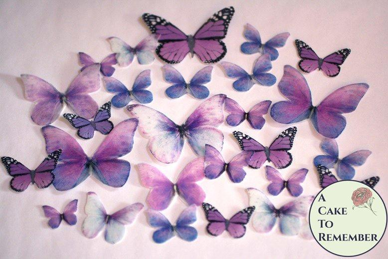 Hochzeit - 26 purple spring wedding cake decorations for a woodland wedding cake or a butterfly wedding cake. Edible butterflies for rustic cake topper