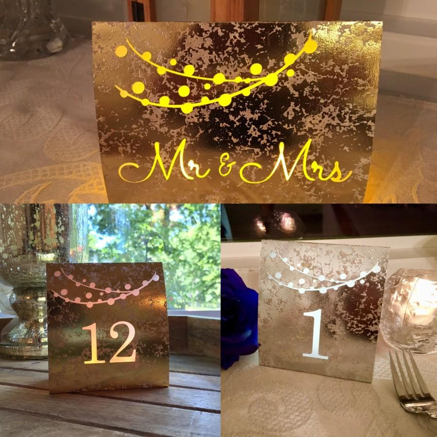 Свадьба - String of Lights Table Numbers • Dusty ROSE, GOLD, or SILVER Foil Mercury Glass Cardstock • Luminaries • Wedding Table Number Luminaries