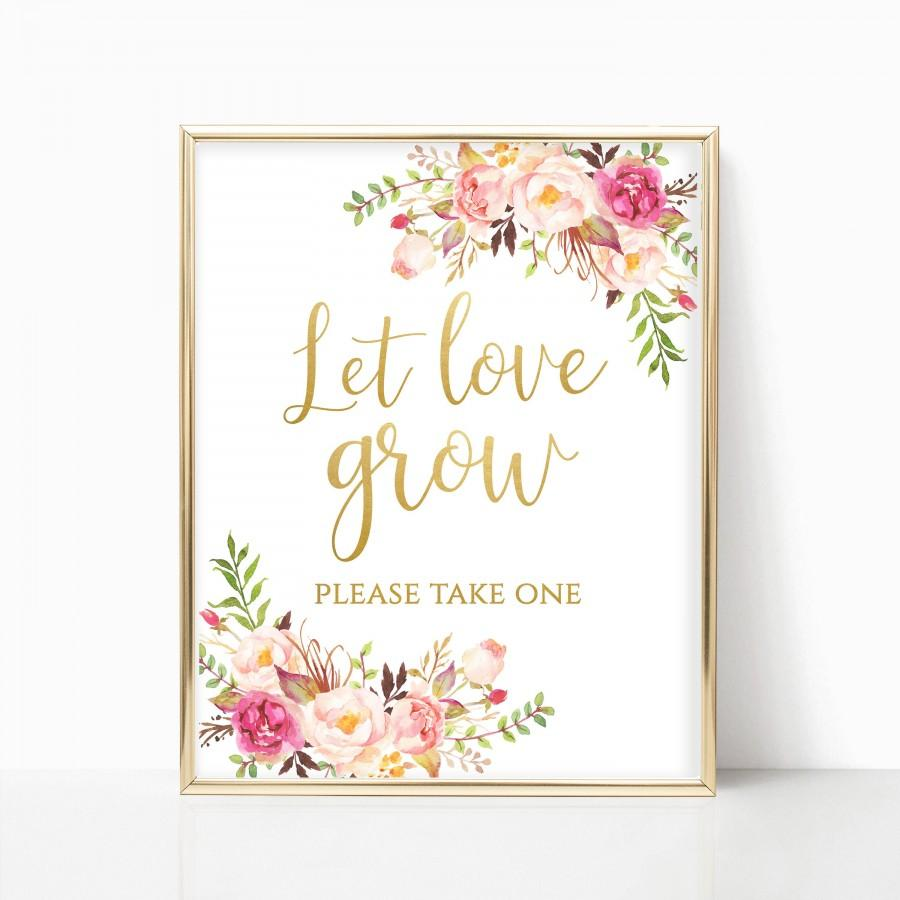 Свадьба - Let Love Grow Sign Wedding Favor Sign Please Take One Seed Favor Sign Succulent Favor Sign Favors Please Take Printable DIY 4x6, 5x7, 8x10