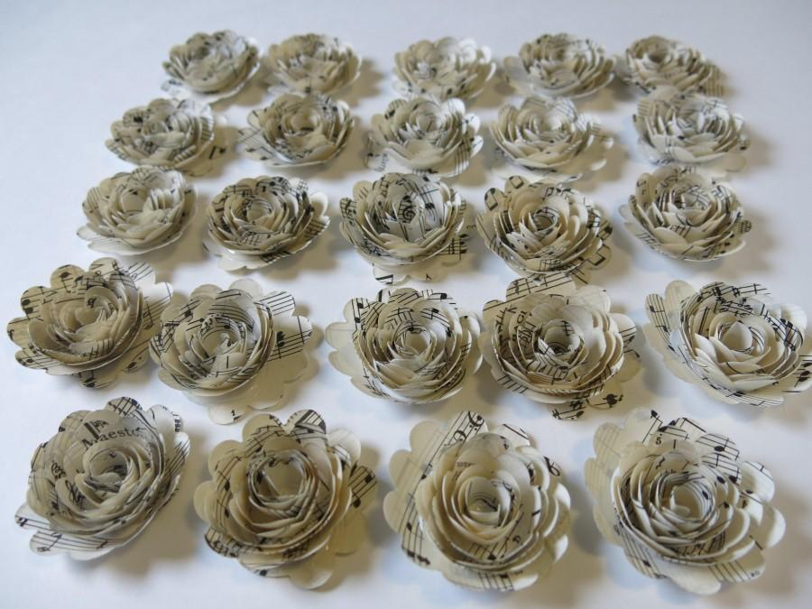 "Свадьба - s Sheet Music Roses, Set of 24, Musical Party Theme Decorations, 1.5"" Paper Flowers, Popular Baby Shower Decor Wedding Centerpiece, Teacher"
