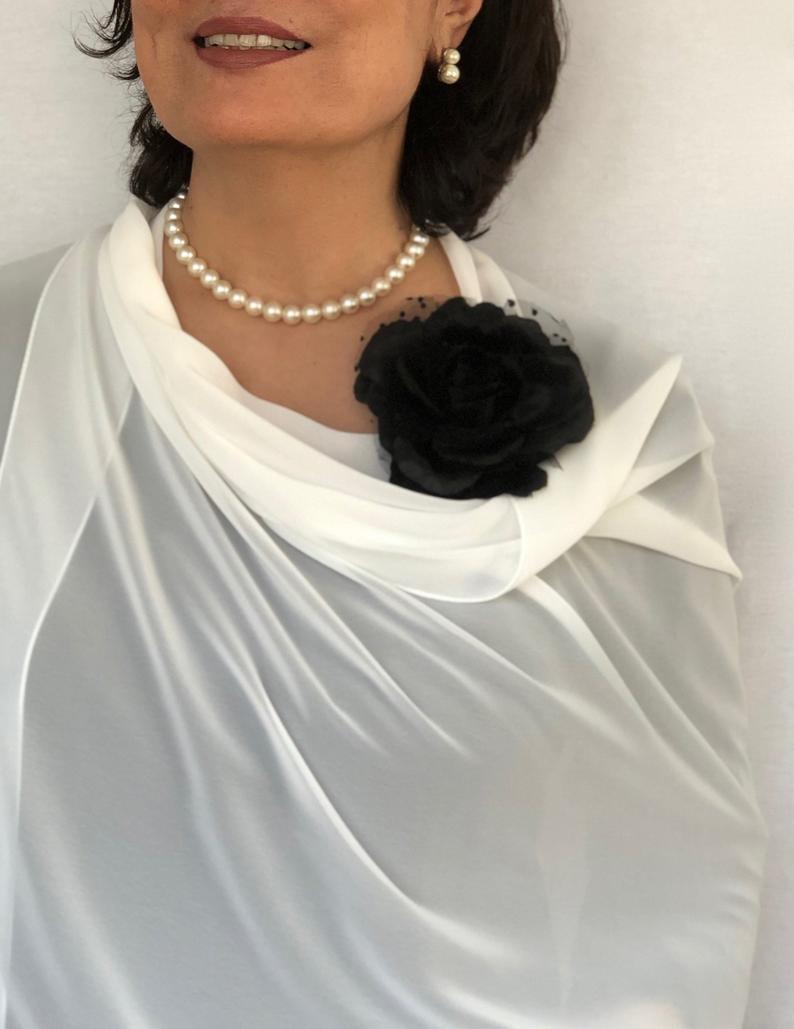 Mariage - Ivory Wedding Shawl, White Chiffon Scarf, Eggshell White Sheer Stole, Bone White Bridal Shawl, Bridesmaids Gift, Evening Shoulder Wrap