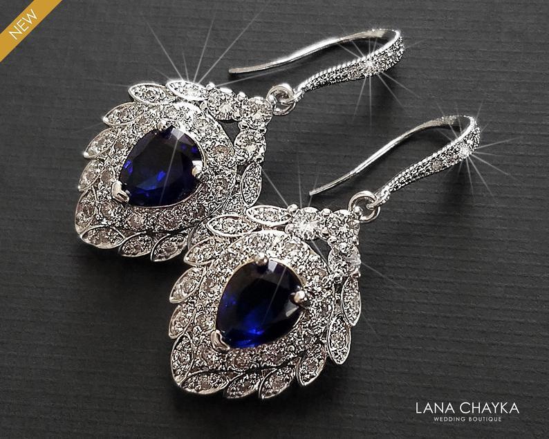 Свадьба - Navy Blue Silver Bridal Earrings, Wedding Cubic Zirconia Earrings, Navy Blue Sapphire Earrings, Sapphire Dangle Earrings Bridal Blue Jewelry