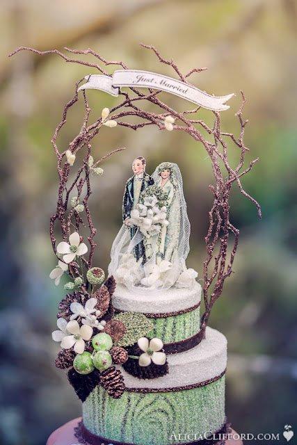 Mariage - 1920s Woodland Glamour Wedding Cake Topper, Keepsake Box, Centerpiece
