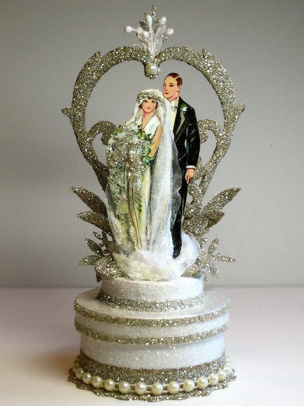 Mariage - 1920s Garden Deco Wedding Cake Topper