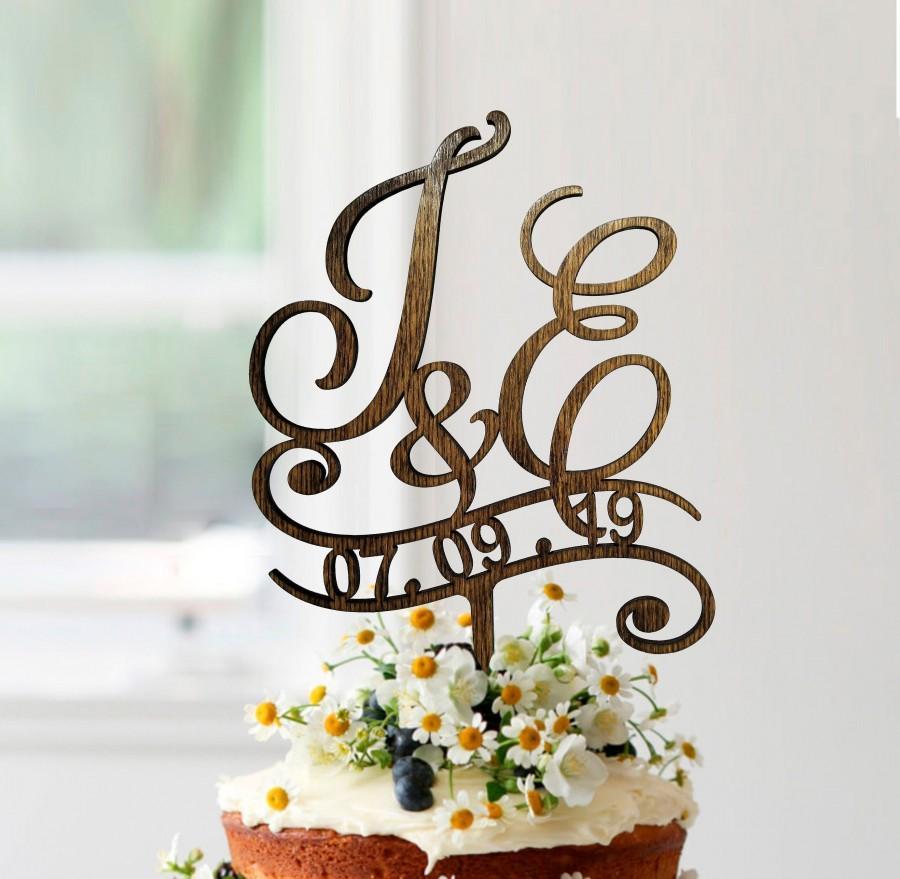 Wedding - j cake topper, wedding cake toppers, cake toppers for wedding, rustic cake topper, initials cake topper, monogram wood, e cake topper, #054