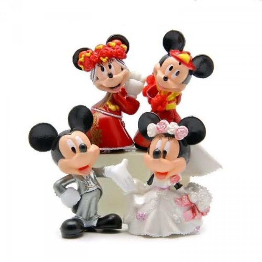 """Mariage - Mickey & Minnie  Mouse  Wedding Cake Toppers 2- 1/4"""" Tall ( 4 - pc Set )"""