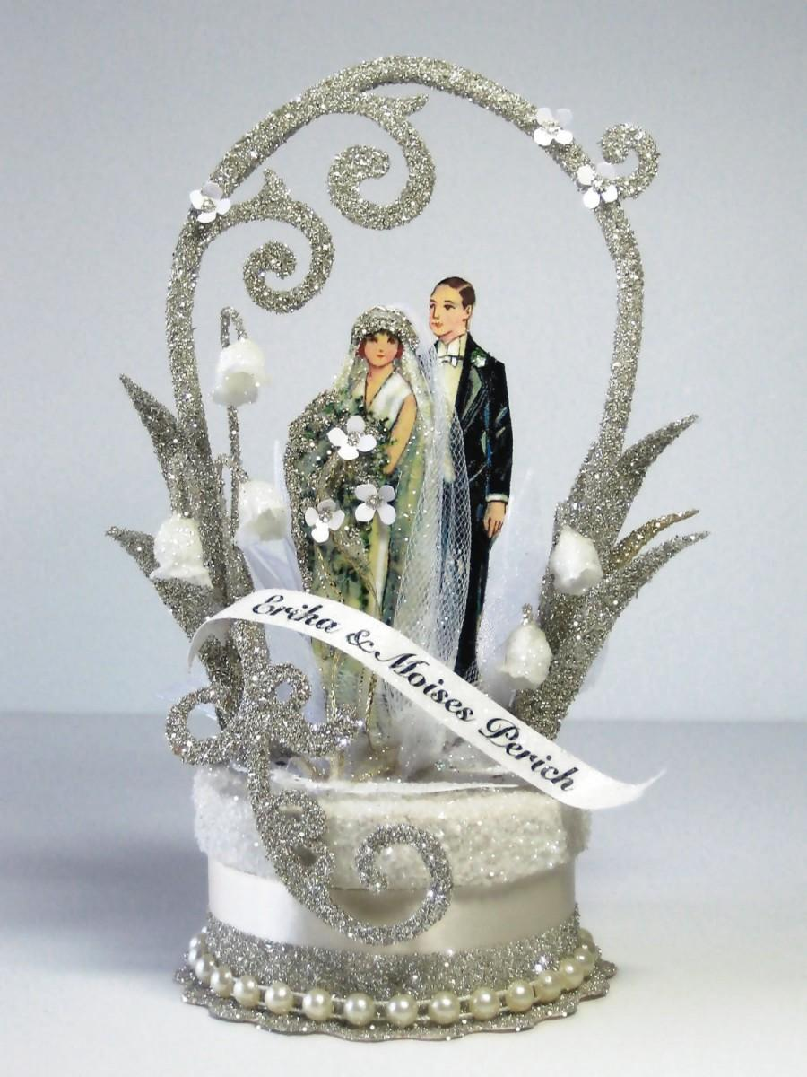 Mariage - 1920's Deco Wedding Cake Topper