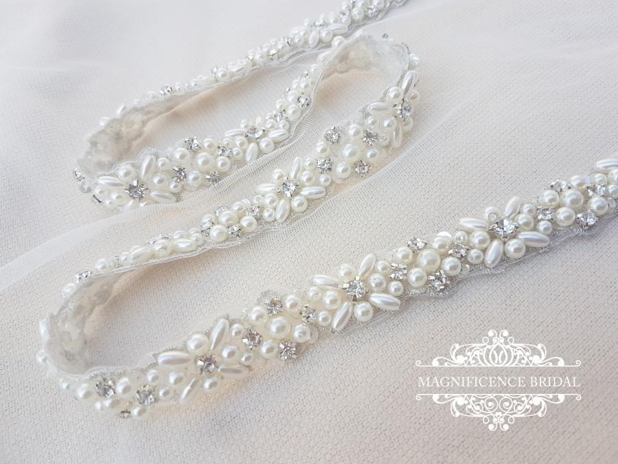 Mariage - Bridal sash, thin bridal belt, thin bridal sash, thin pearl belt, thin wedding belt, wedding belt, skinny belt, pearl wedding belt, ELINA