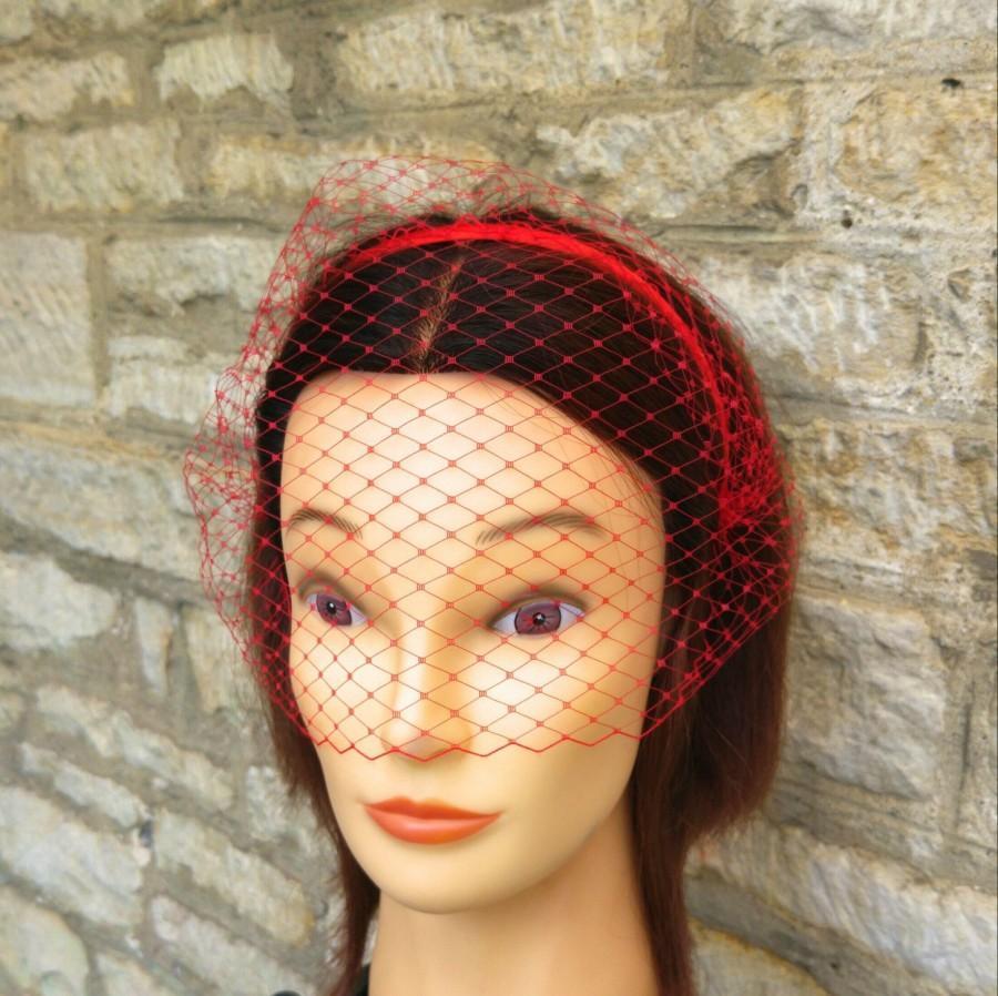 Hochzeit - Red Birdcage Veil  Red Veil headband birdcage Veil Dior Gothic Red Voilette  Masquerade mask wedding hen party