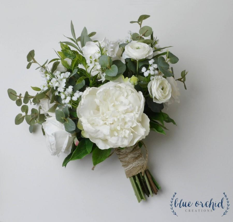Mariage - Silk Wedding Bouquet, Boho Bouquet, Bridal Bouquet, Greenery Bouquet, Silk Flowers, Artificial Bouquet, Wedding Flowers, Green, White, Cream