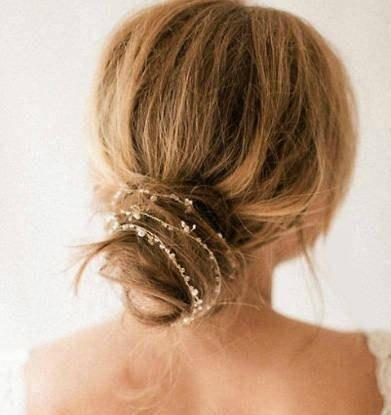 Mariage - Bridal Hair Halo Pearl Headband Dainty Vintage Boho Wedding Headpiece Hair Wrap Crystal Backside Tiara Bride Hair Drape LEIGH Head Chain
