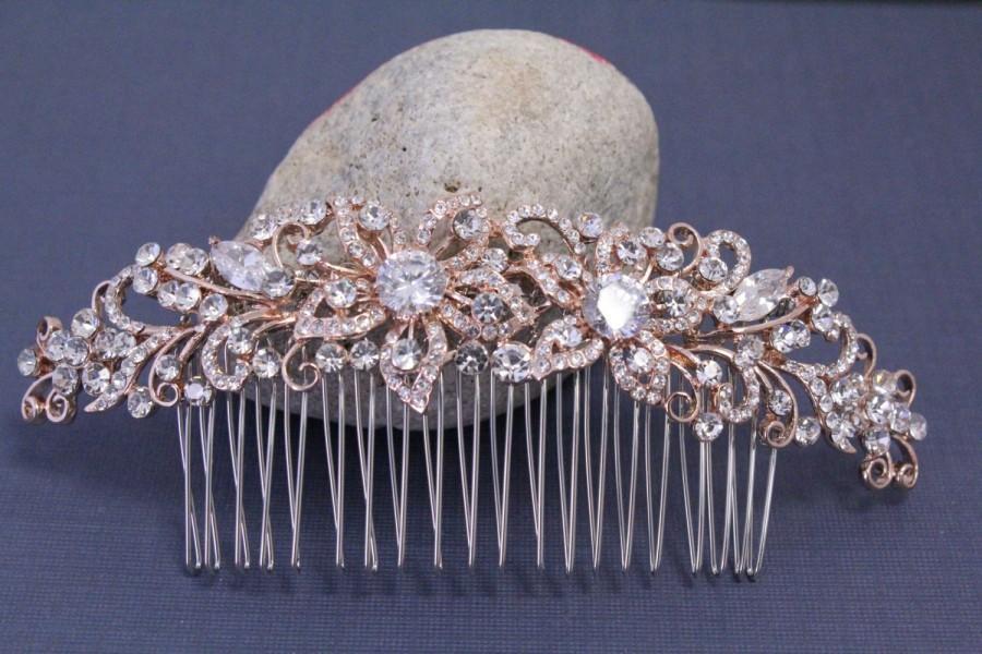 Mariage - Wedding hair comb rose gold Wedding hair accessories Wedding headpiece Rose gold Hair comb bridal hair comb rose gold Wedding headpiece comb