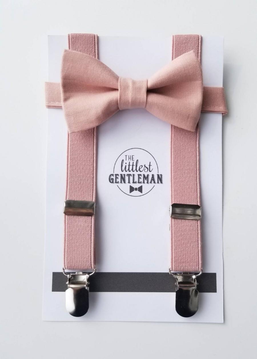 Hochzeit - boys dusty pink bow tie  and suspenders set , suspenders, ring bearer outfit, page boy, braces, boys wedding bow, dusty pink