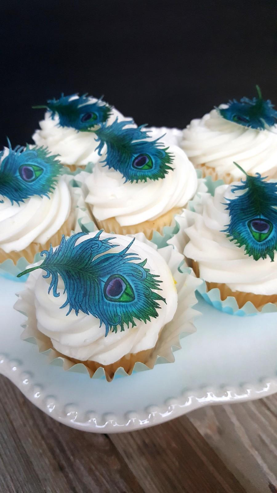 Hochzeit - Edible Teal Blue Peacocks Feathers Cupcakes Size  Collection Set of 12