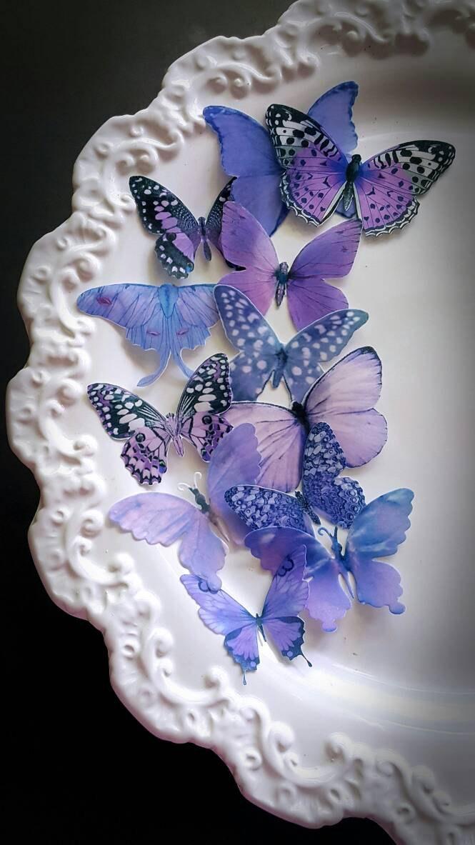 Mariage - 12 Garden Purple Edible Butterflies Cake & Cupcake Toppers,