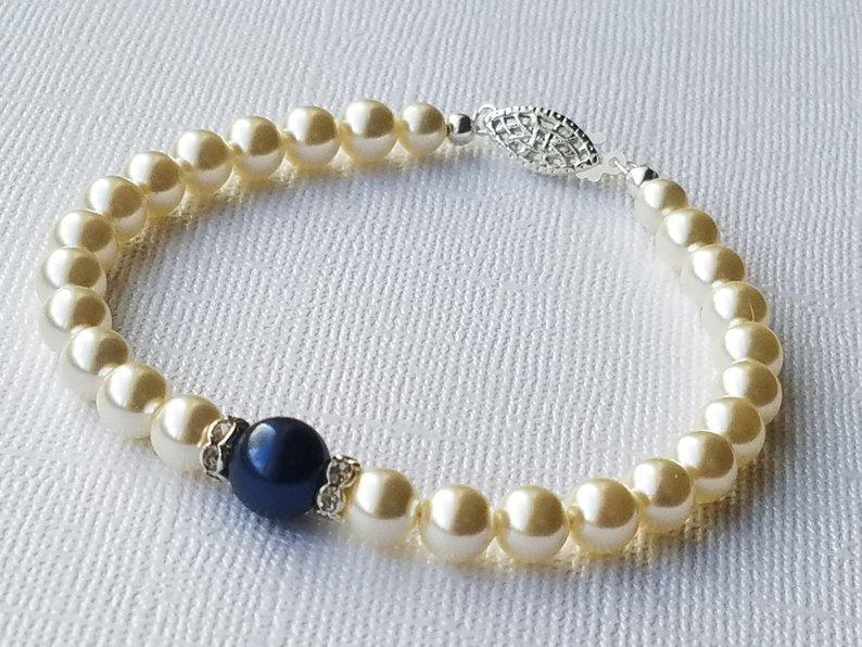 Wedding - Bridal Pearl Bracelet, Swarovski Ivory Navy Blue Pearl Bracelet, Wedding Pearl Bracelet, Bridal Pearl Jewelry, Ivory Dark Blue Bracelet