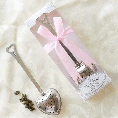 """Wedding - BeterWedding """"Tea Time"""" Heart Shaped Metal Tea Party Favors/Tea Infuser With Ribbons"""