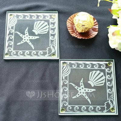 Свадьба - BeterWedding Shell and Starfish Frosted Glass Coasters Souvenir