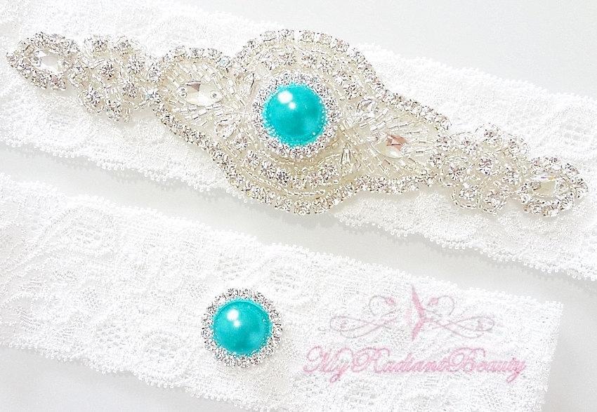 Mariage - Wedding Garter, Bridal Garter, Garters, Crystal Garter, Turquoise Blue Rhinestone Garter, Handmade Custom Garter, Sexy Garter Set GTA0039TUR