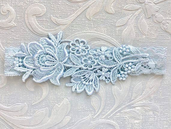 "Hochzeit - Blue Lace Bridal Garter, Blue Garter, Bridal Garter, Lace Wedding Garter, Elegant Garter, Garter, Simple Garter, Bridal Shower Gift ""Flora"""