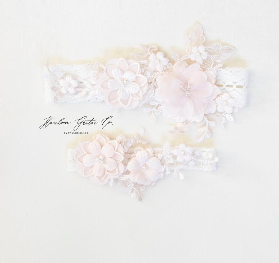 Wedding - Blush Wedding Garter Set NO SLIP grip vintage rhinestones bridal garter, elegant wedding garter set IVORY BB111blush-CB111blush