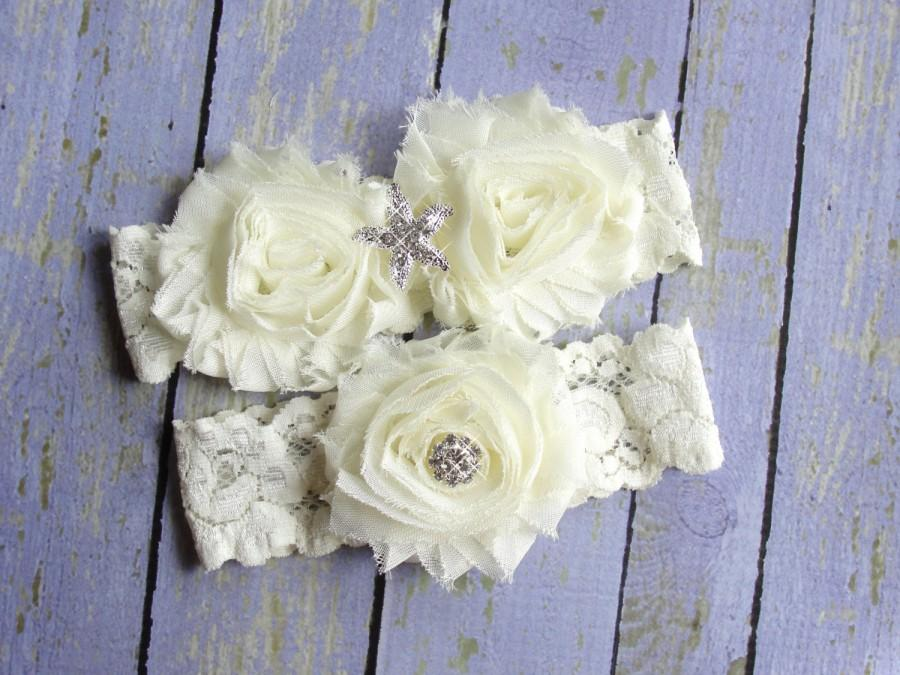 Hochzeit - 100+ Colors, Ivory Wedding Garter, Garter Wedding, Beach Garters, Beach Wedding, Starfish Garter, Custom Garter, Ocean Wedding