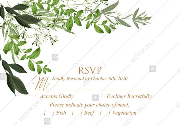 زفاف - RSVP greenery herbal template watercolor edit online 5x3.5 in pdf